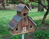 Three unit church style bird house from re-claimed materials