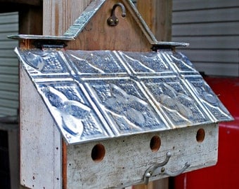 3 unit barn style bird house with reclaimed materials