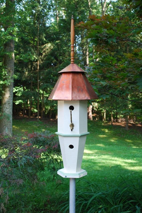 Grand Estate garden bird house with copper roof