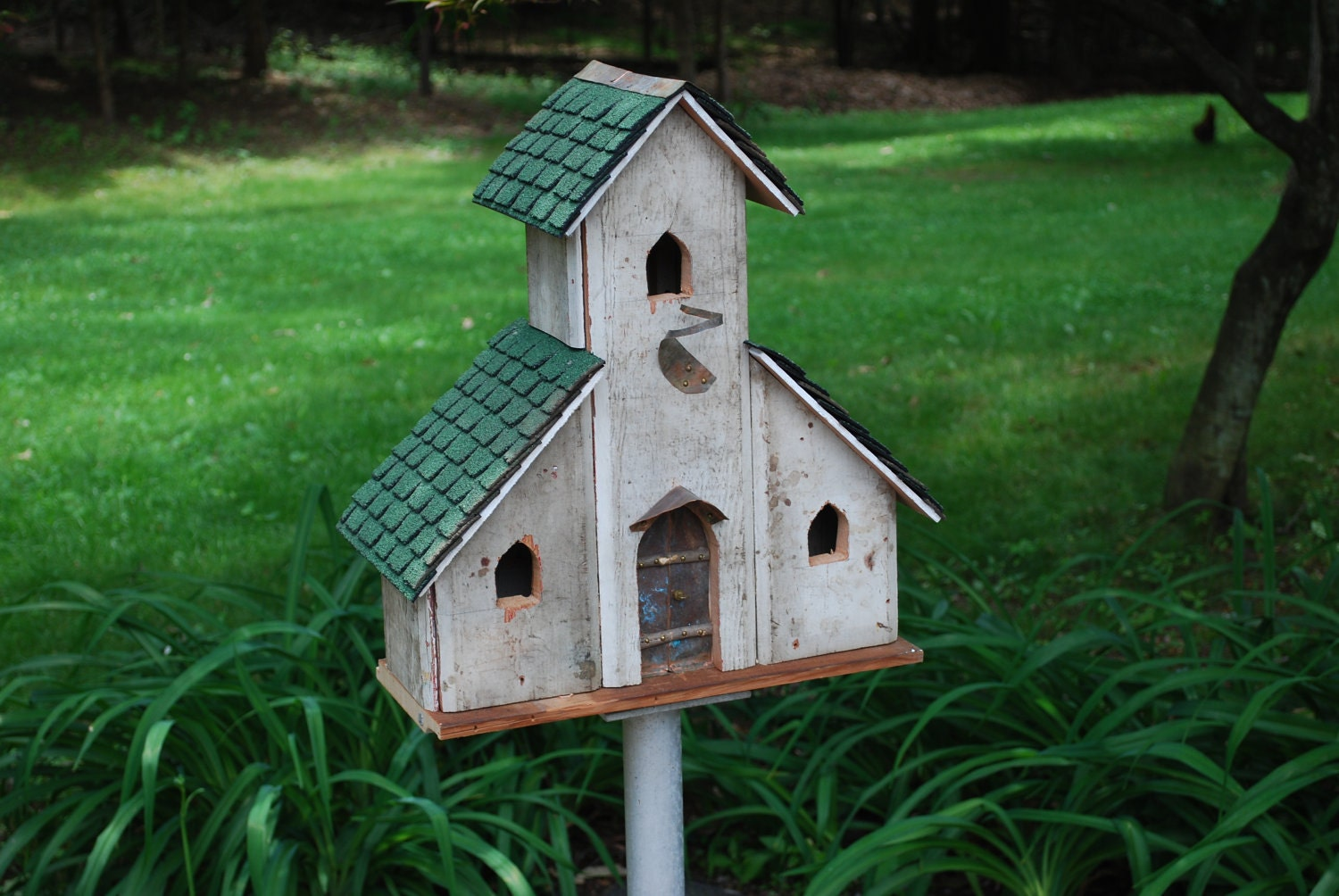 Three unit church style bird house from re claimed materials for Bird house styles