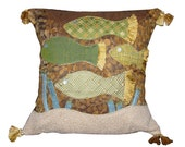 Artistic Earth Toned Fish Sticks Pillow Cover