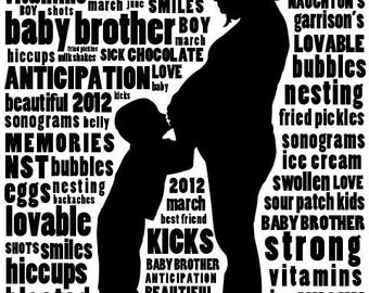 "Maternity Custom Silhouette Portrait Story Art 16 x 20"" - Shipping Included"