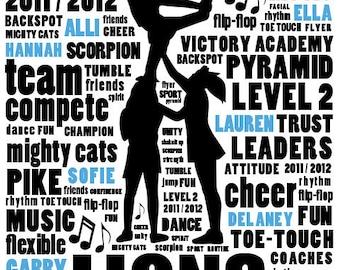 Customized Sports Team Silhouette Story Art - Keepsake Wall Print - 8 x 10 Digital File Only