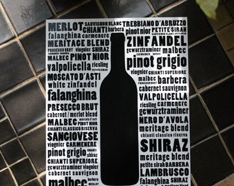Wine Typography Kitchen Art - Black and White Wall Art Print - 8 x 10