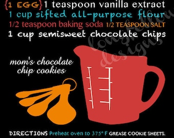Chocolate Chip Cookie Recipe Modern Typography Wall Art