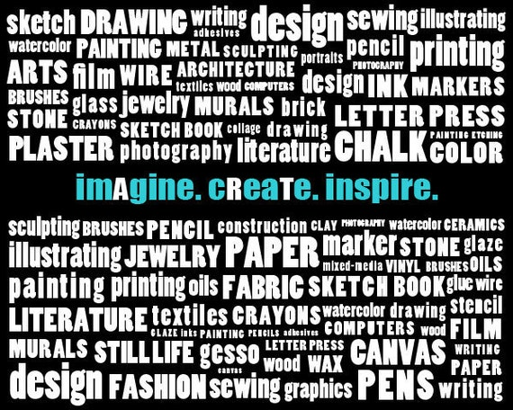 Artist Tools Typography Art - Imagine Create Inspire - Custom Color on Request - Horizontal Print