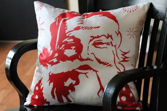 """Seasonal Santa Pillow Cover for 17 x 17 pillow (can fit 16 - 18"""") - Cotton Sateen Glossy Finish - Black Backing / White Zipper"""