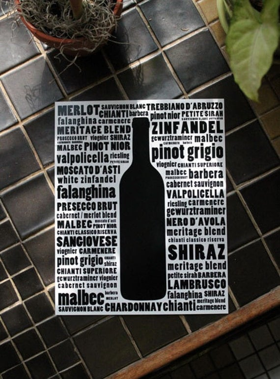 Black And White Wine Wall Decor : Wine typography kitchen art black and white wall print