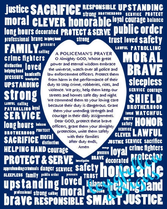 Policeman Prayer - Typography Modern Wall Art - 8 x 10