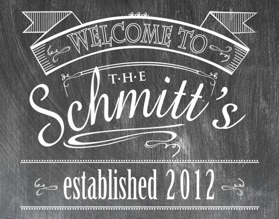 Customized 16 x 20 Chalkboard Look Print - Welcome Sign - Established Date - Shipping Included