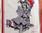Vintage Hanky Tom Lamb Scotty Dog Childs Handkerchief