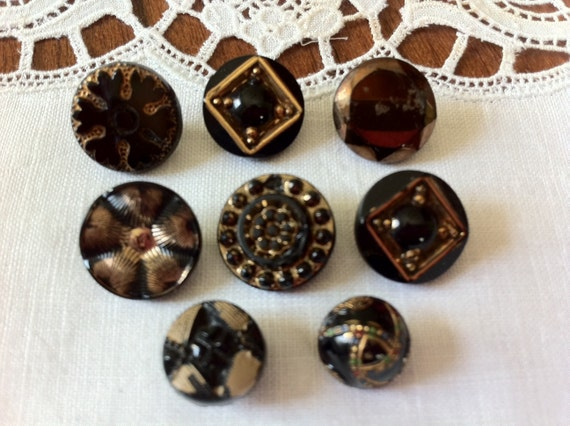 Eight Black Glass Buttons with Gold Accents, Victorian