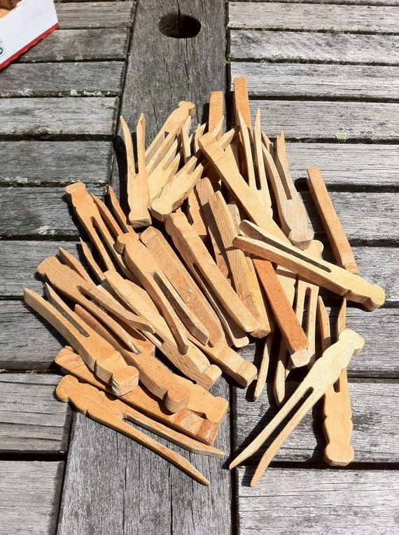 Vintage Wood Clothespins, 36 Flat Style