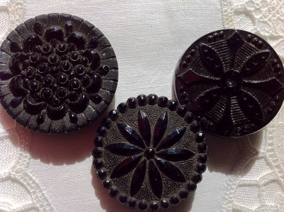 Three Large Victorian Buttons, Black Glass Detailed Designs