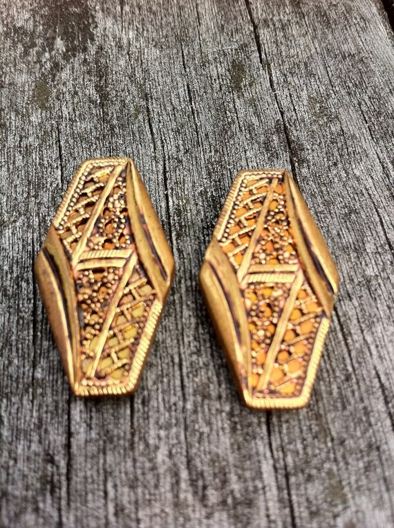 Pair of Large Victorian Metal Buttons, Elongated Hexagons, Ornate