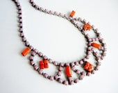 Vintage 1950s One Of A Kind Hand Painted Sheer Pink and Coral Rhinestone Necklace