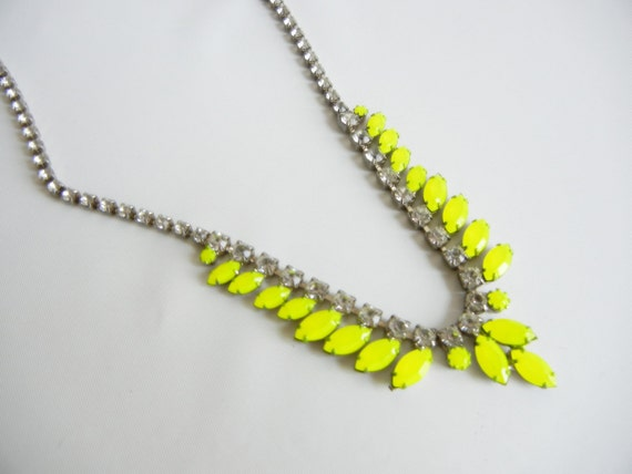 Vintage 1950s One Of A Kind Hand Painted Neon Yellow Rhinestone Necklace