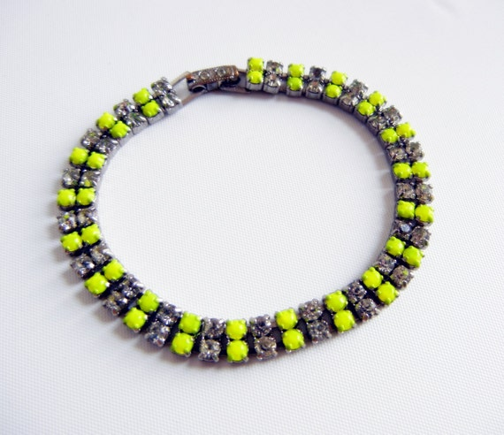 Vintage 1950s One Of A Kind Hand Painted Neon Yellow Rhinestone Bracelet