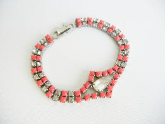 Vintage 1950s One Of  A Kind Neon Pink Rhinestone Bracelet