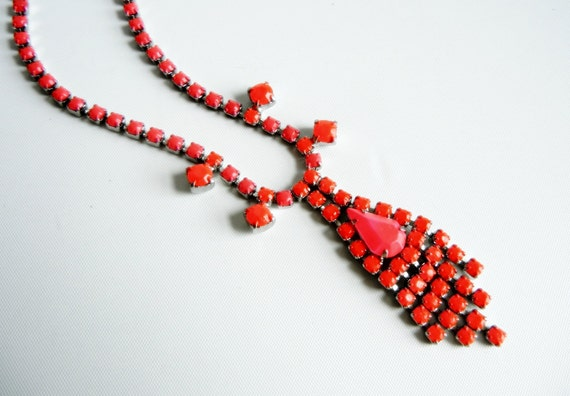 Neon Red and Neon Pink Necklace - Vintage 1950s One Of A Kind Hand Painted
