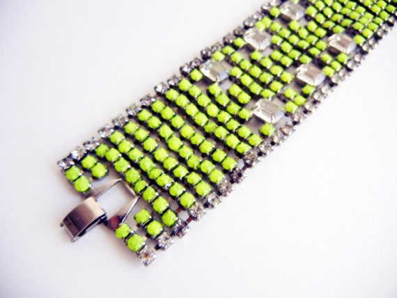 Over The Top Vintage 1950s One Of A Kind Hand Painted Neon Yellow Bold  Rhinestone Bracelet