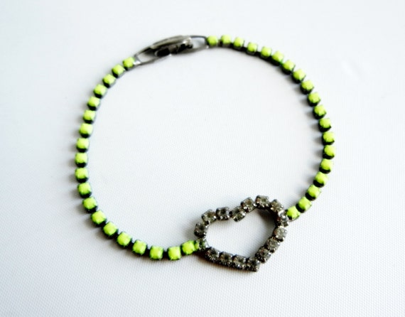 Vintage 1950s One Of A Kind Hand Painted Neon Yellow Heart  Rhinestone Bracelet