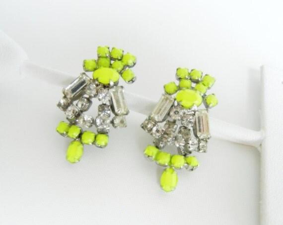 Vintage One Of A Kind Neon Yellow Rhinestone Drop Earrings