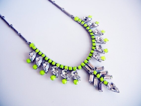 Vintage 1950s One Of A Kind Hand Painted Neon Yellow Rhinestone Necklace - Gorgeous Design