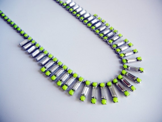 Vintage 1950s One Of  A Kind  Neon Yellow Baguette Rhinestone Necklace