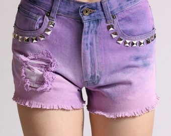 High Waisted Purple Ombre Studded Shorts