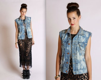 Upcycled Spiked and Studded Acid Wash Marc Jacobs for Wrangler Denim Vest Small