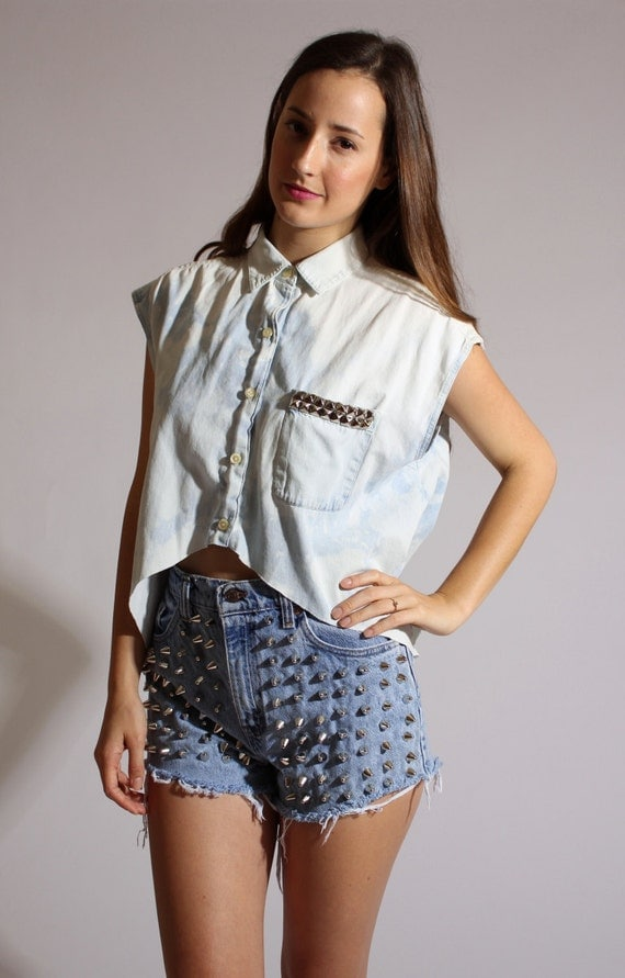 Studded Acid Wash High Low Button Up