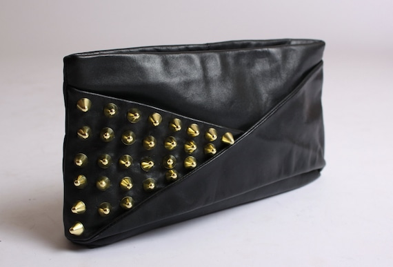 Gold Cone Studded Leather Clutch