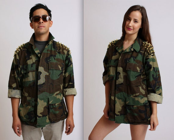 Unisex Gold Studded Army Jacket