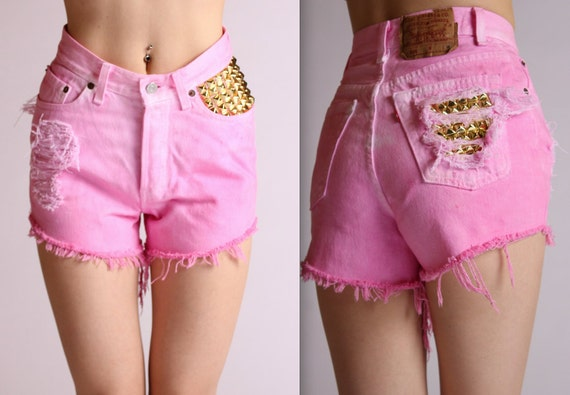 Gold Studded High Waisted Ombre Pink Levis XS
