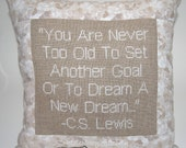 Cross Stitch Pillow Inspirational Quote, C.S. Lewis Quote, Brown and White Pillow