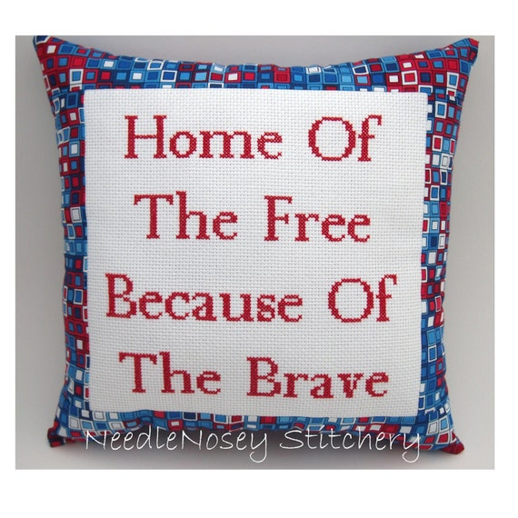 Inspirational Cross Stitch Pillow, Inspirational Quote, Red White and Blue Pillow, Military Quote