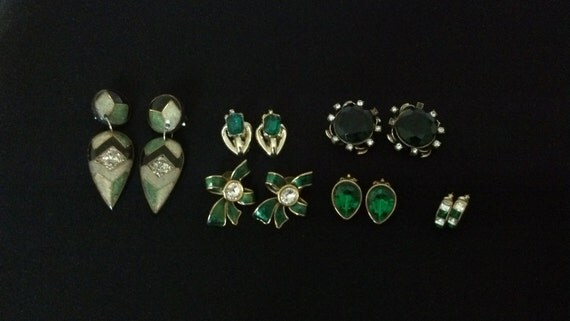 Emerald Green Earrings Lot of Six Pairs of Vintage Pierced and Clipons in Goldtone and Enamel