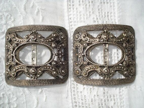 Vintage Metal Shoe Buckles