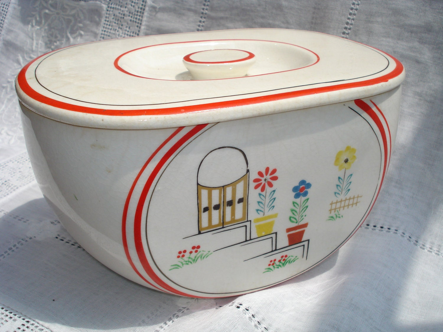 vintage 1930s kitchen canister ceramic pottery by
