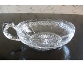 Clear Cut Glass Candy Dish Bowl With Handle