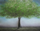 ORIGINAL Flower Tree Oil Painting, Green and Blue Abstract Landscape, Textured Canvas, 6 x 8, SubLime