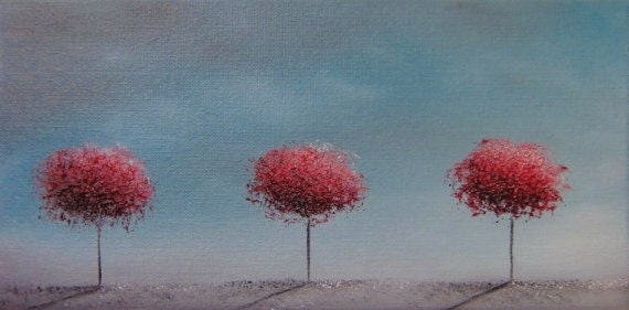 ORIGINAL Abstract Tree Oil Painting, Blue and Red Contemporary Art, Textured Canvas, 6 x 12, We Three