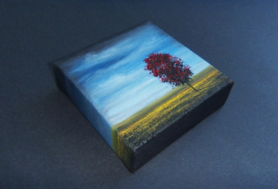 ORIGINAL Abstract Tree Oil Painting, Contemporary Red Art on Textured Canvas, 5 x 5 x 1.5, A Summer's Eve