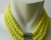 Handmade Neon Yellow Crochet and Steel Necklace