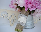 Burlap and Lace Bouquet Wrap with Simple Satin and Beaded Detail