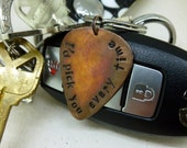 "Guitar Pick Keychain - Hand Stamped & Antiqued Copper Guitar Pick Keychain - ""I'd pick you every time"" - Men - Women - Unisex Great Gift!"