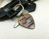 """Guitar Pick Keychain - Hand Stamped & Antiqued Copper Guitar Pick Keychain - """"Where words fail music speaks"""" - Men - Women - Unisex"""