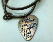 Personalized Guitar Pick -Hand Stamped & Antiqued Copper Guitar Pick Necklace -  Men Great Gift!