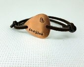 Hand Stamped Copper Guitar Pick Bracelet - Leather - Imagine - Personalized Great Gift!